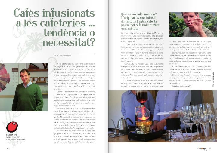 """Revista Artesans (abril 2014) """"Cafès infusionats a les cafeteries... tendència o necessitat?"""
