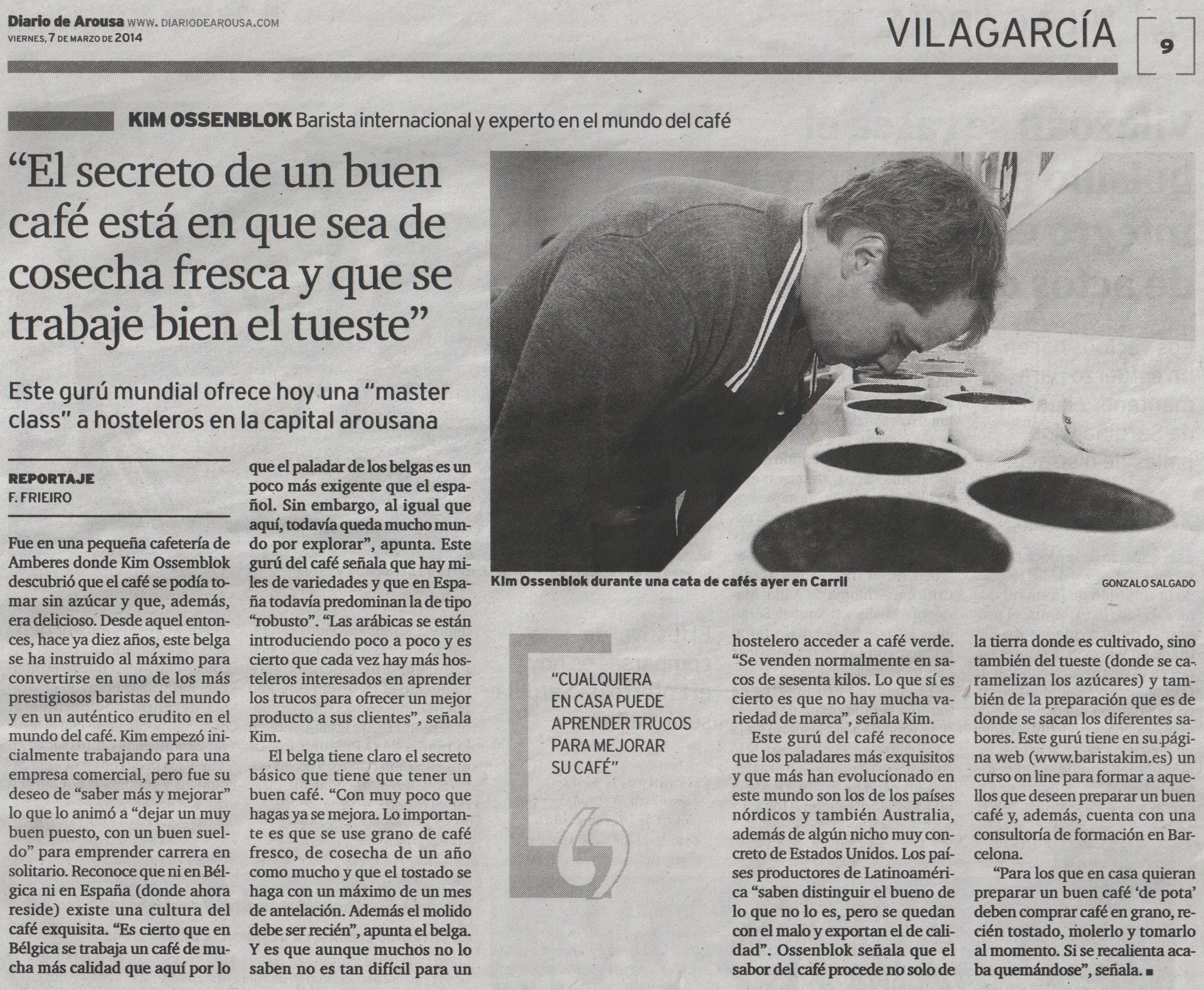 barista kim en la prensa - la voz de galicia - 7 marzo 2014